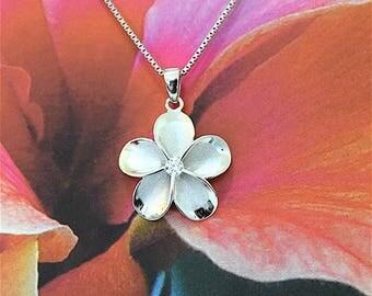 5 pcs, Plumeria Pendant, Wholesale Priced Plumeria Pendant, Silver Plumeria W. CZ Pendant, W2017 Hawaiian Jewelry