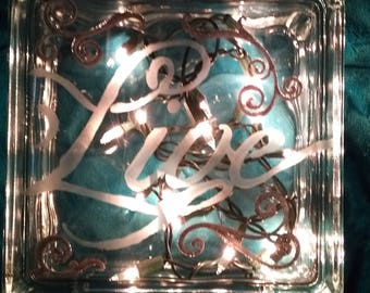 Lighted etched glass cubes 8x8