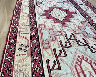 Turkhis Runner Rug,9.1x2.3 Feet,280x72 Cm,Floor rug,silk carpet,Vintage silk rug,Handmade rug,turkhis carpet,runner rug