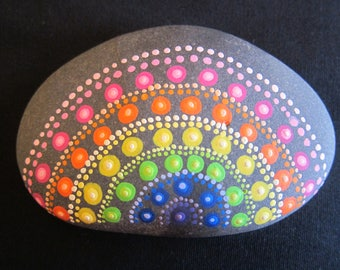 Hand Painted Mandala Rainbow Rock