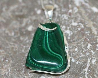 Malachite Pendant. Uncommon piece of Malachite  in classic, sterling silver setting. Handmade & unique.