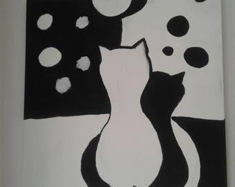 Canvas Cat Couple