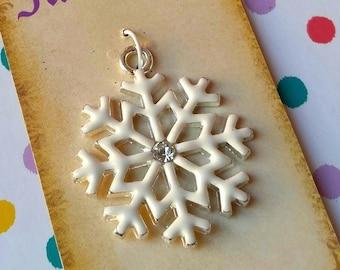 Fairy Tale Pendants - Frozen Elsa Snowflake - Enamel Silver Charm
