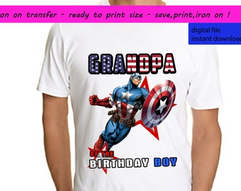 Captain America, Captain America Iron On Transfer, Captain America Grandpa, Captain America Shirt, Superhero, Instant Download, Digital File