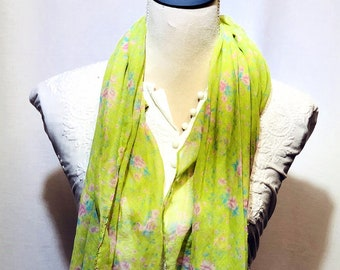 Parrot green printed floral scarf | summer collection | lightweight | handwoven.