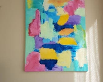 """Original Abstract Colour Patch Acrylic on Canvas (22"""" x 28"""")"""
