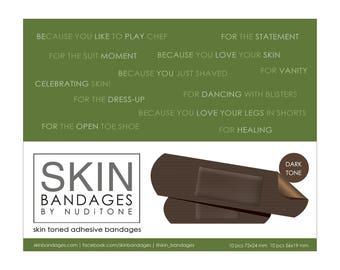 Skin Bandages by Nuditone - DARK toned adhesive bandages / plasters