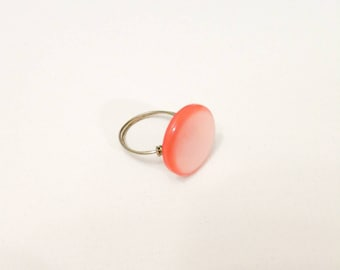 Sheer Pink Wire Wrapped Button Ring