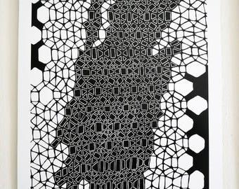 Art Print A3 Black & White