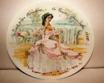 Limoges Porcelain Collector Plate~Scarlet in Crinoline~Dated 1976~ FR Ganeau~