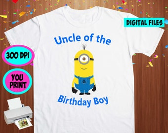 Minions. Iron On Transfer. Minions Printable DIY Transfer. Minions Uncle Shirt DIY. Instant Download. Digital Files Only.