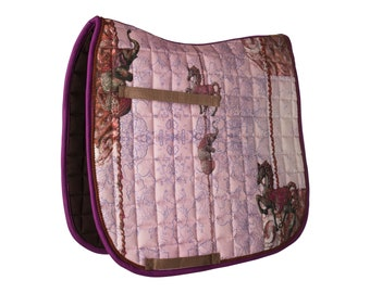 Saddle rack ' Fabelross ' with horse pressure in pink, pink, lilac, brown-by Lucky Hucke-Po o. WB/Dressage-anatomic fit-Cotton