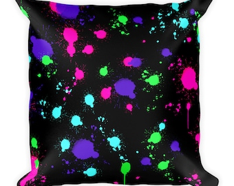 Colorful Paint splattered Square Pillow