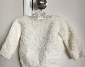 Soft white cuddly girl sweater