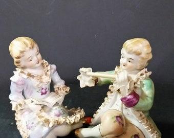 Vintage Royal Bone China  Lace  figurerines dated 8 31 56