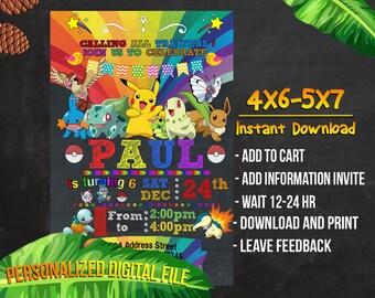 Pokemon Birthday,Pokemon Invitation,Pokemon Party,Pokemon Birthday Invitation,Pokemon Invitation Party,Pokemon Birthday Party,Pokemon-S003