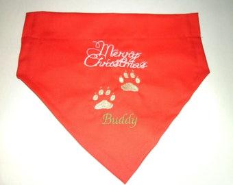 Christmas, Dog Bandana, Monogram, Personalized, gift, Embroidery, Holiday, Christmas Gift, photo shoot, dog lovers gift, stocking stuffer