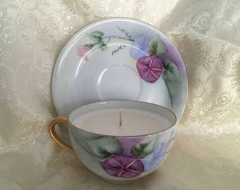 Hand Painted Tea Cup Soy Candle