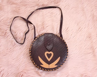 vintage tambourine bag purse, round crossbody bag with winged heart