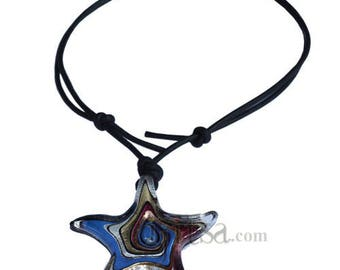 Black leather purple glass star pendant adjustable leather necklace