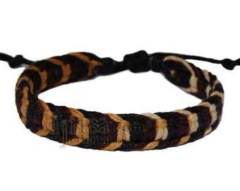 Wide golden brown/dark brown/black hemp adjustable bracelet or anklet
