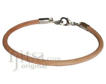 3mm round natural leather bracelet or anklet, metal clasp