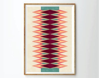 geometric art, mid century style, Art print, art print, wall decor, nursery decor
