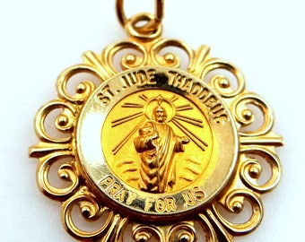 14k Solid Gold St. Jude Medal Patrol Saint of Lost Causes