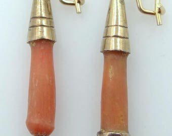 Victorian 14k Gold and Gold Filled Coral Dangle Earrings