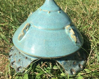 Toad House, perfect get away for your garden friends. One of a kind outdoor accent piece