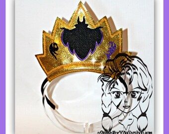 VILLaIN MaL Queen Descendants CRoWN ~ In The Hoop Headband ~ Downloadable DiGiTaL Machine Embroidery Design by Carrie