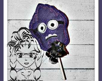 PuRPLE Little Evil Character Sucker Cover Lollipop Candy ~ In the Hoop ~ Downloadable DiGiTaL Machine Emb Design by Carrie