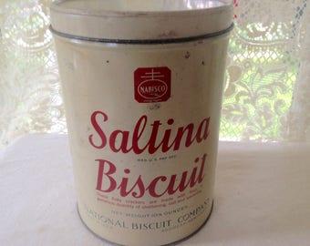 Saltina Biscuits Cracker Tin Canister Box 1930s Depression Era Farmhouse Kitchen Storage Organizer USA