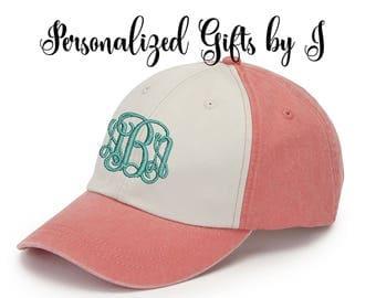 Monogrammed Hat Set of 3 Baseball Cap, Bridesmaid Gift, Groomsman Gift, Personalized, Monogrammed