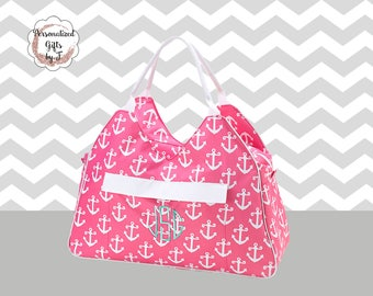 Pink Anchor Beach Bag, Bridesmaid Bag, Monogrammed Beach Bag, Gift for Her, Mothers Day Gift, Personalized Beach Bag, Weekender Bag,