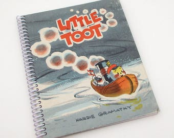 Recycled Book Journal - Little Toot - Hardback Book Notebook - Spiral Notebook - Spiral Journal - tugboat
