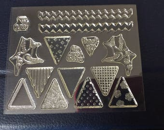 Clear cling pennant rubber stamps