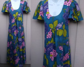 60s Blue Floral Hawaiian Floral Barkcloth Caftan Dress / Vintage Full Length with Waterfall back Luau // Size xs - Sml
