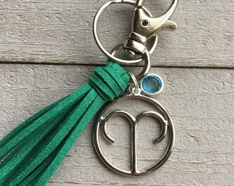 March Birthday Gift, Zodiac Gift Keychain, Tassel Keychain - Choose Tassel Color + Aries or Pisces - Gift Under 15, Gift for Her