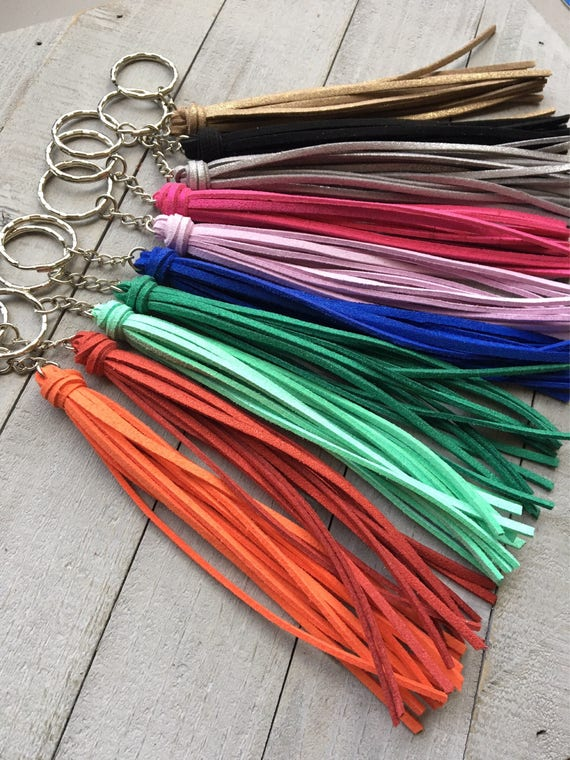 "Tassel Keychain  -6"" Classic Tassel Choice of 40 Colors- Gift for Her, Gift Under 10, Handbag Tassel, Keychain Gift, Long Tassel (ST120)"