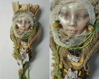White Wolf Spirit, Kitchen Witch,  Assemblage Art doll Shabby Chic,  Decor OOAK