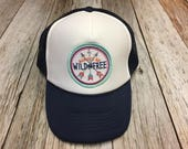 """Youth/Girls Navy and White Trucker Hat- with """"Alwa..."""