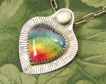 "Enameled Rainbow Heart ""White Light"" Pendant -  Sterling with Rainbow Moonstone - OOAK"