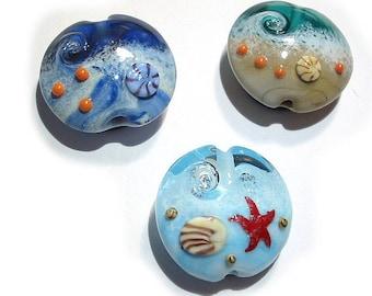 Handmade Glass Lampwork Beads, Ocean Lentils