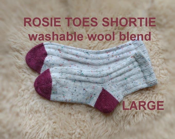 Rosie Toes Shortie Socks - made with Wool-Ease washable yarn - wool acrylic blend --- LARGE