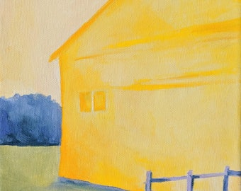 Bright Yellow House Painting Original Oil Painting 8x8 inches colorful art