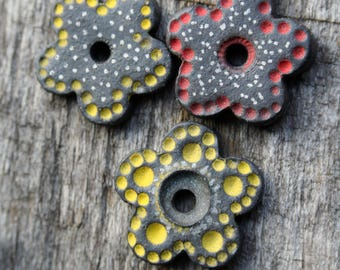 Handmade Ceramic Flowers Set of 3
