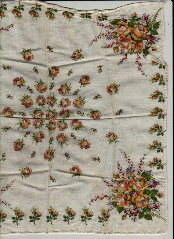 Yellow and Red Rose Handkerchief - Vintage Linens