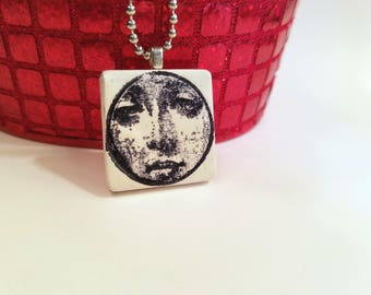 SALE Peeking Face Necklace, Quirky Jewelry, Black and White, Stamped Face Pendant, handmade polymer clay
