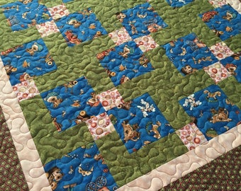 Patchwork Nap quilt, small blanket, Baby Quilt, Brown Green and Blue, Dots, Retro colors, handmade, ready to ship